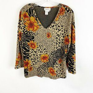 Coldwater Creek Floral Animal Printed Shirt V Neck